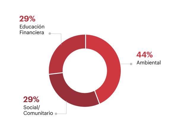 Distribución del voluntariado por categoría temática, 2016, Ambiental 44%, Social/ Comunitario 29%, Educación Financiera 27%