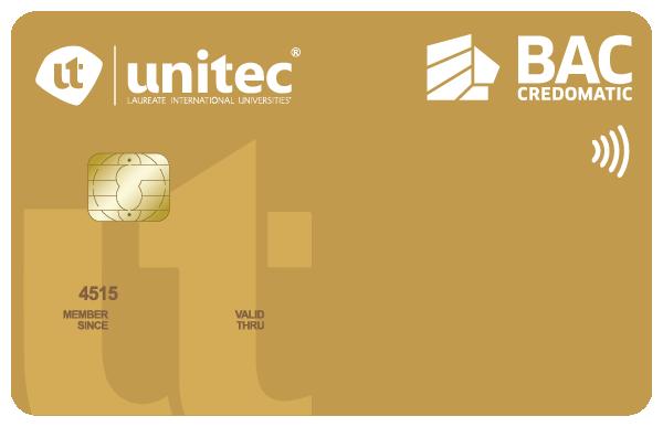 Tarjeta de crédito Unitec dorada BAC Credomatic