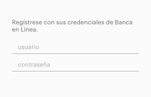 Pantalla donde se pide ingresar el usuario y contraseña de Banca en Línea, y viene el espacio para ingresar los datos.
