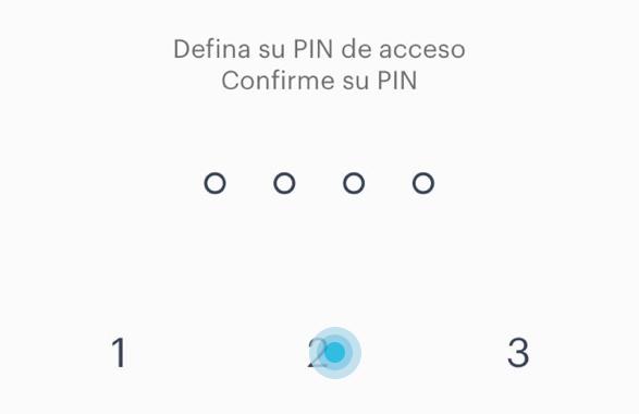 Pide volver a ingresar el PIN de acceso y debajo aparecen los números para ingresar el PIN.