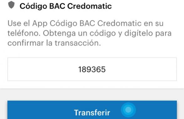 Se muestra el código BAC ya ingresado y se señala en dónde se debe dar click para finalizar la transacción