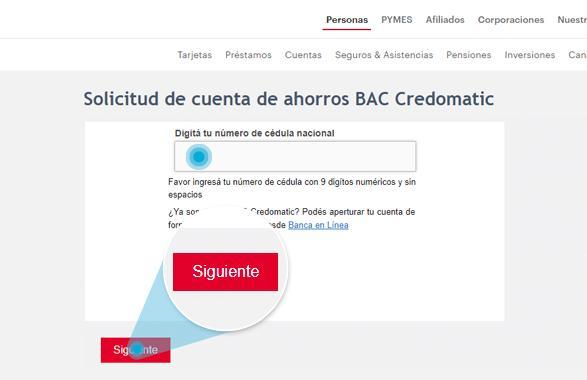 Completá el número de cédula en el formulario y seleccioná el botón Siguiente.