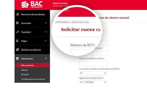 Apertura cuenta BAC Credomatic