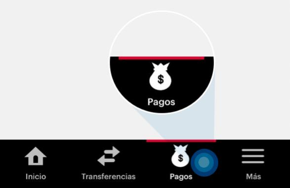 Se resalta el ícono de pago en el menu en la aplicación de banca móvil