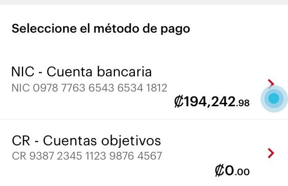Lista de cuentas bancarias que tiene el usuario para seleccionar