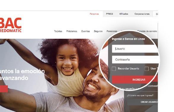 Cambiá tu límite de transferencias en Banca en línea de BAC Credomatic Paso 1