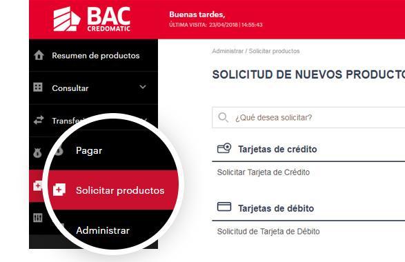 Solicitud nuevos productos BAC Credomatic