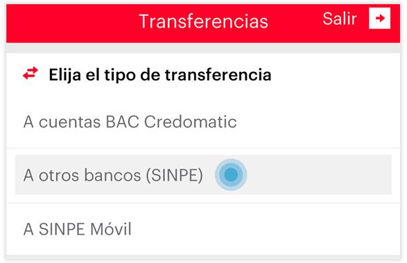 Transferencia SINPE - Paso 2