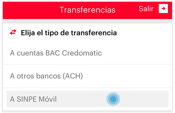 Transferencia SINPE MOVIL - Paso 2