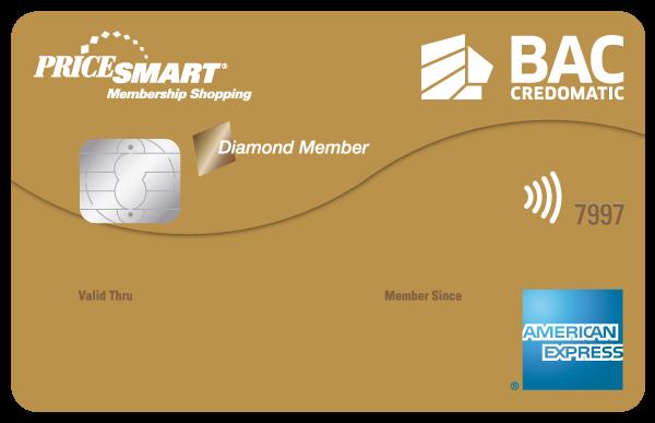 Tarjeta de Crédito Pricesmart American Express BAC Credomatic Dorada